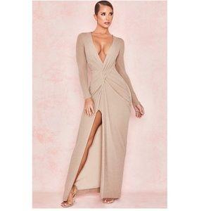 Champagne Lurex Twist Front Maxi Dress